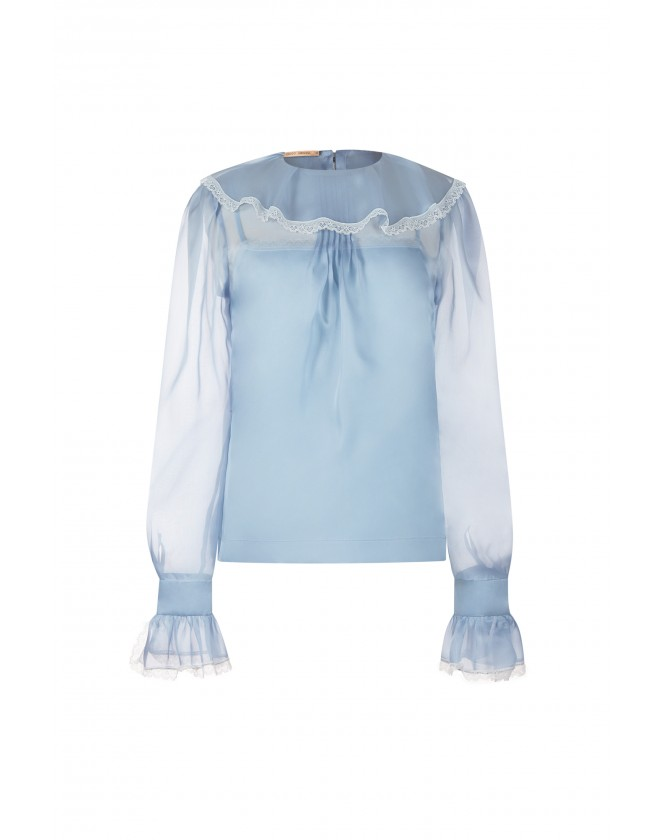 LACE-TRIMMED SILK SHIRT